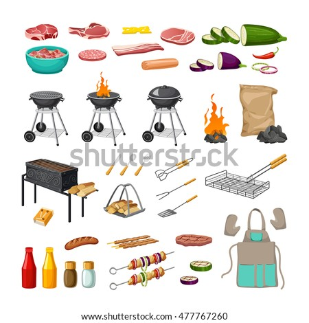 set of elements - barbecue and grill with tools and foods. isolated on white background.