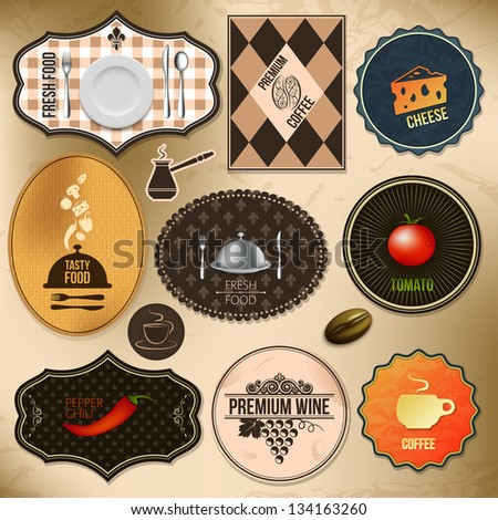 set of elements (food and coffee theme) - stock vector