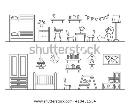 Bedroom Designs Outline set elements kids room interior kid stock vector 419151115