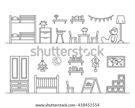Bedroom Designs Outline set elements kids room interior kid stock vector 419151115