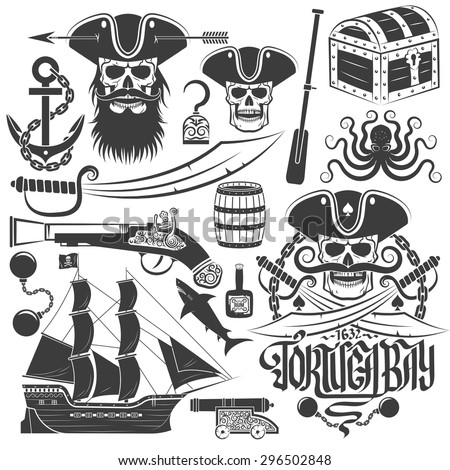 Set of elements for creating pirate logo or tattoo. Skull emblem. Tricorn, anchor, saber, old gun, barrel, chest, ship, octopus and more. - stock vector