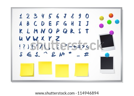 Set of elements for decorating a white office board. Includes a hand drawn alphabet and numbers. EPS10 vector. - stock vector