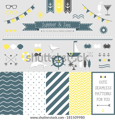 Set of elements for design. Sea and summer. The kit includes ribbons, bows, anchor, hearts, arrows and striped vector patterns - stock vector