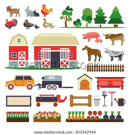 Set of elements for farm. Farm building, animals, plants, vegetables, barn, horse transporter, rabbit hutch, trees, tools. Farm collection - stock vector