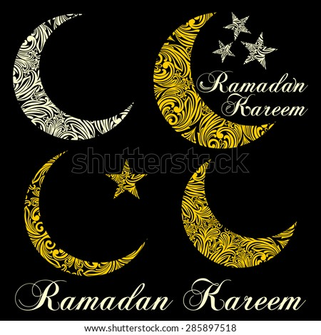 Set of elements for holy month of Ramadan Kareem. Black and white color. Vector Illustration - stock vector