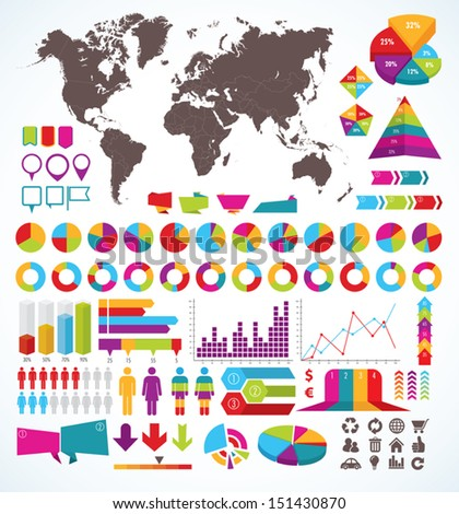 Set of elements for infographic - stock vector