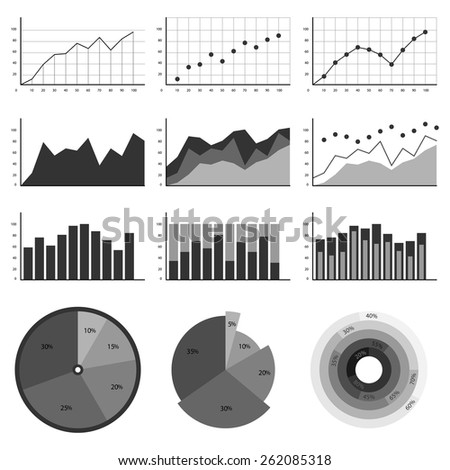 Set of elements for infographics, charts, graphs, diagrams. In gray color. Vector illustration - stock vector