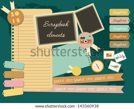Set of elements for scrapbook - stock vector
