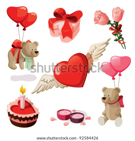 Set of elements for st. Valentine's day. Isolated on white background. - stock vector
