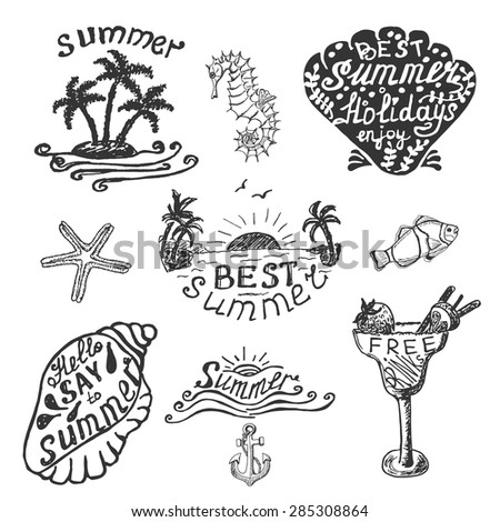 Set of elements for summer calligraphic design. Vector illustration for your design - stock vector
