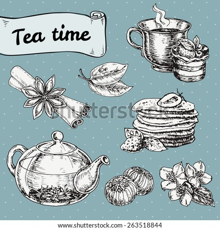 set of elements for tea time or breakfast with cake and pancakes. hand drawn vector illustration