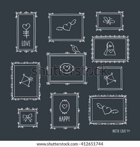 Set of elements for Valentine's Day, Mother's Day, birthday, wedding. Hand drawn  vintage frames with chalk on the black chalkboard. Doodles, sketch for your design. Vector illustration. - stock vector