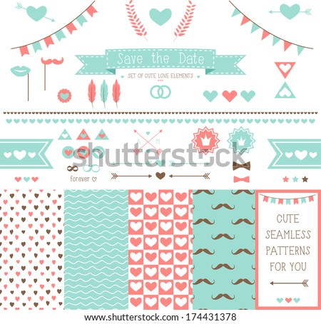 Set of elements for wedding design. save the date. The kit includes ribbons, bows, hearts, arrows and pattern with hearts and a mustache - stock vector