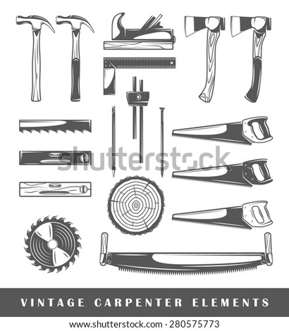 Set of elements of the carpenter. Elements of carpenter isolated on white. Symbols for carpenter design, vector. Silhouettes for logo of the carpenter. Elements for logos. Carpenter icons. Vector