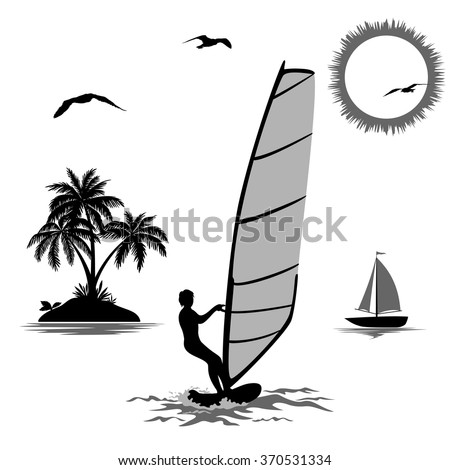 Set of Elements Symbolizing Vacation in the Tropics, Sportsmen Surfer, Island with Palm Trees, Sailboat in the Sea, Sun and Birds, Black and Grey Silhouettes Isolated on White Background. Vector
