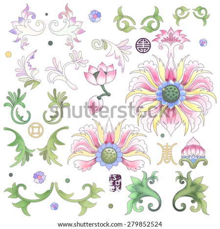 Set of elements to create designs in style of chinese porcelain. Lotus flowers and leaves are painted by watercolor. - stock vector