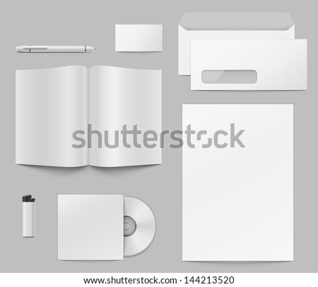Set of elements to make corporate identity presentation. Fully transparent. Any backgoung can be used. - stock vector