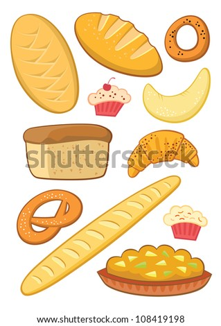 Set of eleven bakery products. Colorful vector symbols isolated on white. - stock vector
