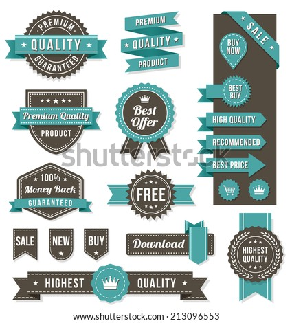Set of eleven golden vector Commercial Labels and Ribbon templates and web elements. Vector file is organized in layers to separate Graphic elements from Text and Shadows.