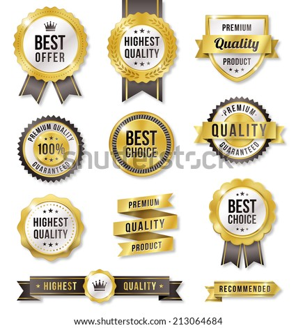 Set of eleven golden vector Commercial Labels and Ribbon templates. Vector file is organized in layers to separate Graphic elements from Text and Shadows. - stock vector