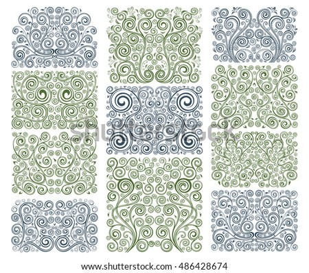 Set of eleven vector floral elements.