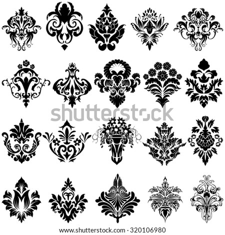 Set of Emblem in Damask Style Over White Background. Vector illustration.