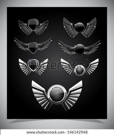 Set of  emblemes  with wings. Vector illustration. - stock vector