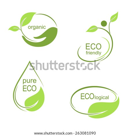 Set of emblems, labels and frames with green leaves for ecological, organic or natural theme design - stock vector