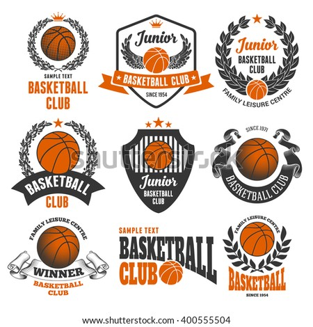 Set of Emblems, Logos and Labels on Basketball Theme and for Basketball Club. Colored Vector Illustration. Isolated on White Background. - stock vector