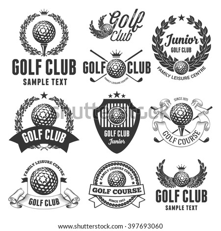 Set of Emblems, Logos and Labels on Golf Theme and for Golf Club. Vector Illustration. Isolated on White Background.