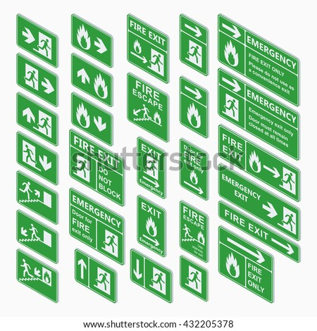 Set of emergency exit isometric sign vector. Fire exit, emergency exit, fire assembly point, evacuation lane re-entry building isometric exit sign. Exit sign isometric green warning. - stock vector