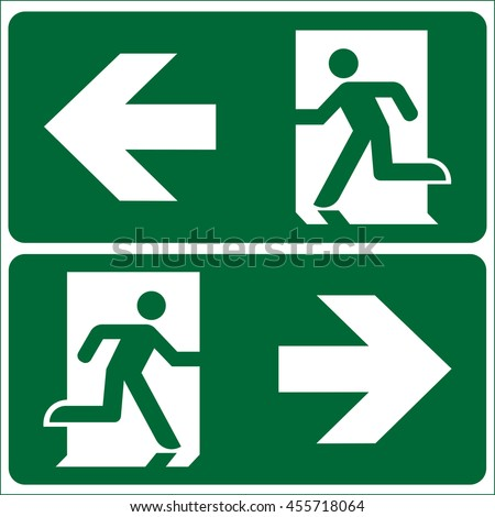 Set of emergency exit Sign (fire exit, emergency exit, evacuation, Fire Extinguisher, For Emergency use only)