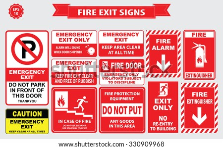 Set of emergency exit Sign (fire exit, emergency exit, fire extinguisher, fire door, do not park in front door). - stock vector