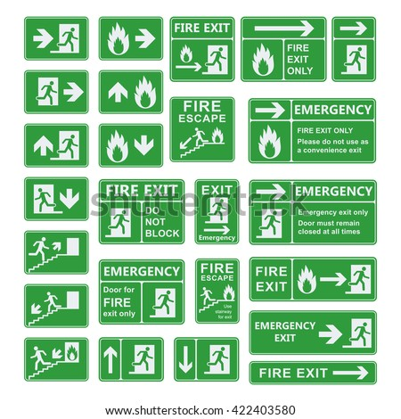 Set of emergency exit sign vector. Fire exit, emergency exit, fire assembly point, evacuation lane, fire extinguisher. For emergency use only, no re-entry building exit sign. Exit sign green warning. - stock vector