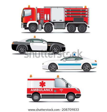 set emergency transport icons fire truck vector de stock208709833