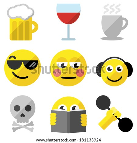 Set of emoticons - stock vector