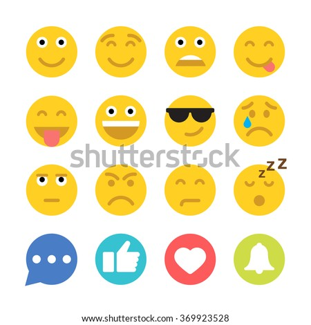 Set of Emoticons and Social Network Icons. Set of Emoji. Flat style illustrations - stock vector