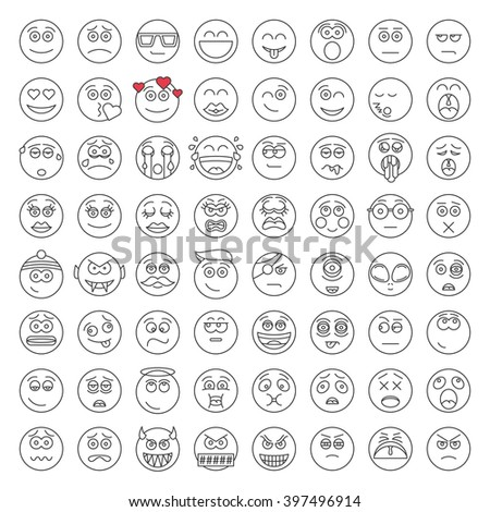 Set of Emoticons. Avatar, Smile, Smiley, Emotion, Face icons. Mood and expression vector illustration on white background