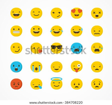Set Emoticons Emoji Isolated On White Stock Vector Hd Royalty Free
