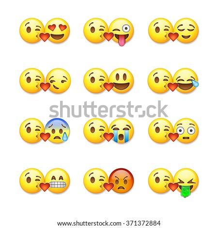 Set of emoticons, emoji isolated on white background, vector illustration. - stock vector