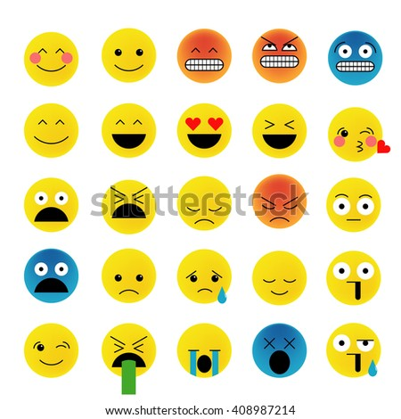 Set of emoticons, emoji isolated on white background, vector illustration. Smiley faces collection - stock vector