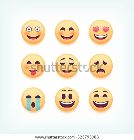 Set of emoticons, isolated on white background, vector illustration.