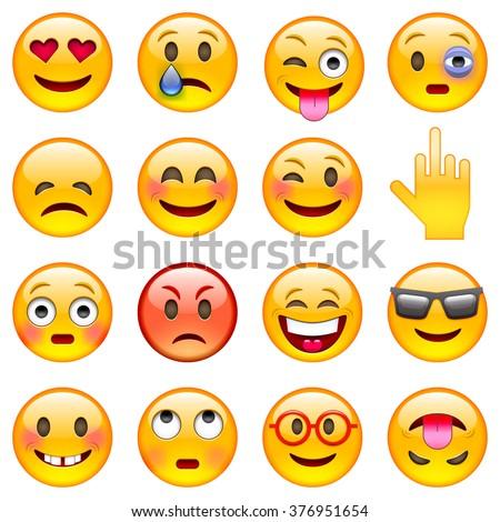 Set of Emoticons. Set of Emoji. Isolated vector illustration on white background - stock vector
