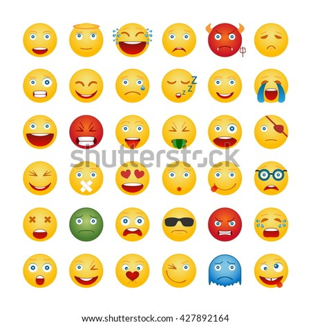 Set Of Emoticons. Smile Icons Isolated On White Background. Vector Illustration