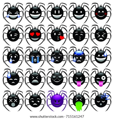 Set of  Emoticons Spiders, Emoji, smilies icons. Vector illustration on white background.