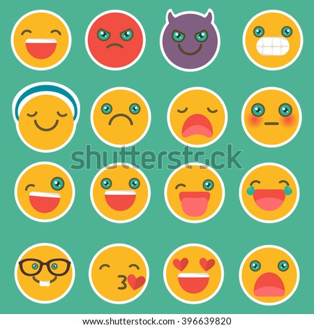 Set of emoticons with different emotions. Emoji. - stock vector