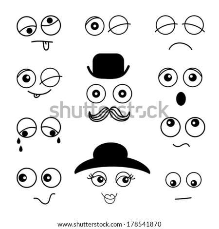 set of emotion faces - stock vector