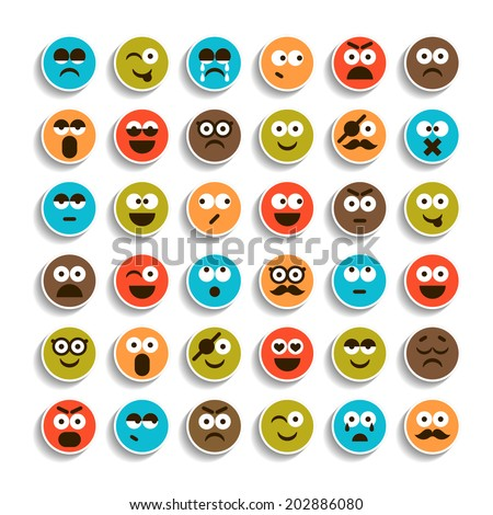 Set of emotion smiling faces icons  - stock vector