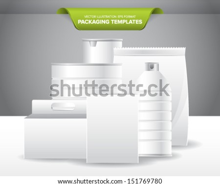 Set of empty and blank packaging templates for food and beverage products. - stock vector