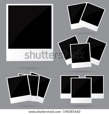 Set of Empty blank empty photo frames mockup template. Vector illustration